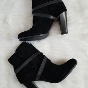 Ann Taylor Loft Black Suede Leather Strap Booties